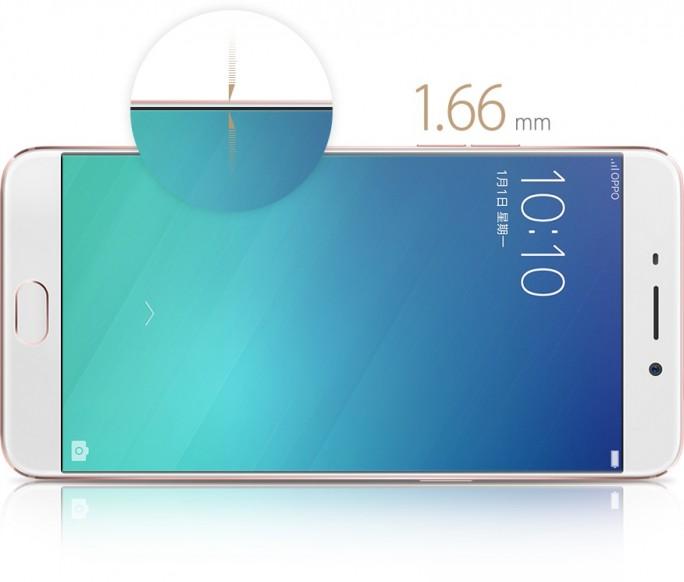 Das Oppo R9 hat nur einen 1,66 Millimeter dicken Displayrand (Bild: Oppo).