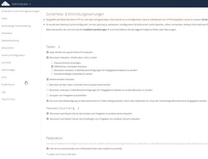 Über die Administrator-Oberfläche können Administratoren die Umgebung anpassen (Screenshot: Thomas Joos).