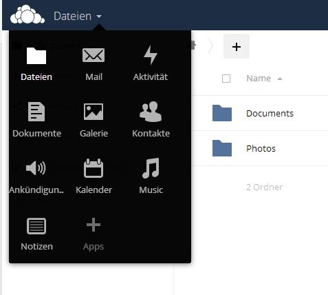 Über das Dropdown-Menü am linken oberen Rand, stehen die verschiedenen Funktionen von ownCloud 9 bereit (Screenshot: Thomas Joos).