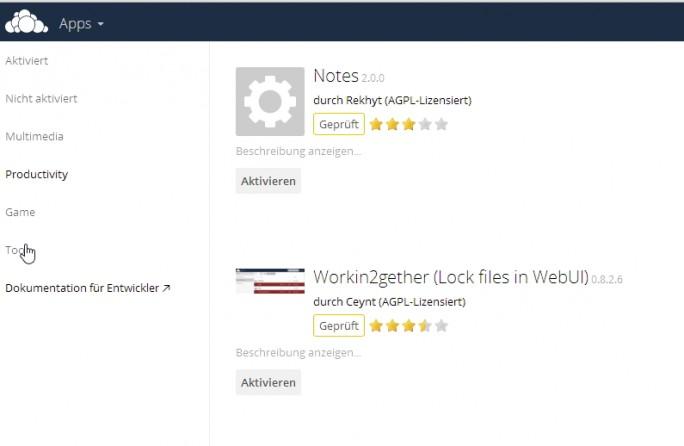 Über den App-Bereich in der Weboberfläche lassen sich zusätzliche Funktionen in ownCloud integrieren (Screenshot: Thomas Joos).