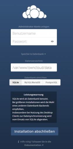 Im Rahmen der Einrichtung kann auch die Datenbank ausgewählt werden, die ownCloud nutzen soll (Screenshot: Thomas Joos).