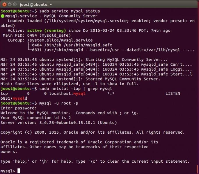 MySQL ist eine ideale Datenbank-Grundlage von ownCloud 9 (Screenshot: Thomas Joos).