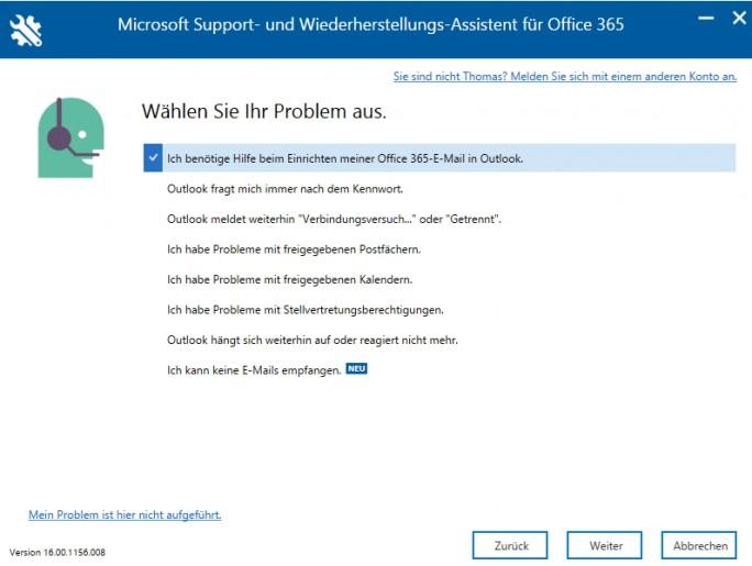 SaRA kann Anwendern bei Problemen mit Office 365 helfen (Screenshot: Thomas Joos).