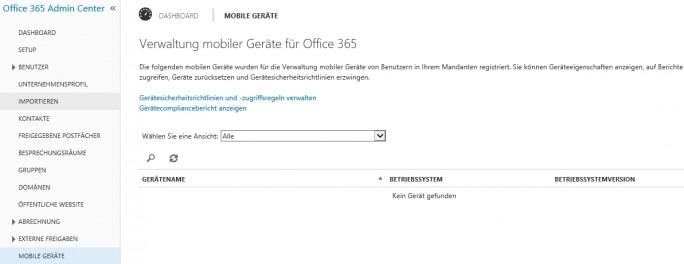 """Nach der Aktivierung von Office 365 MDM sind die Einstellungen über den Bereich """"Mobile Geräte"""" im Office 365 Admin Center zu finden (Screenshot: Thoma Joos)."""