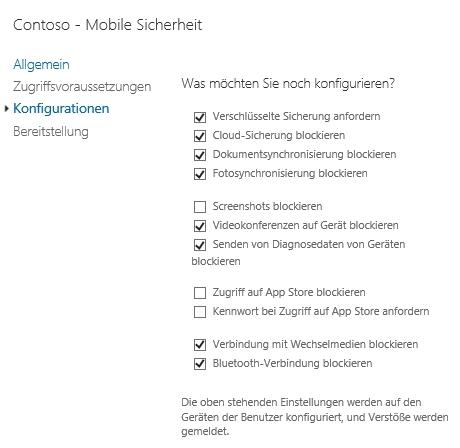 Die Sicherheitsrichtlinien in Office 365 verbessern die Sicherheit der Endgeräte (Screenshot: Thoma Joos).