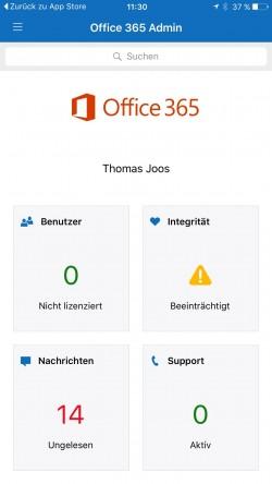 Mit einer App verwalten Administratoren Office 365 auch von unterwegs über Smartphone und Tablet (Screenshot: Thomas Joos).