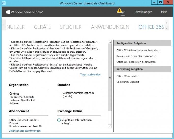 Office 365 ist auch in kleinen Unternehmen mit Windows Server 2012 R2 Essentials nutzbar (Screenshot: Thomas Joos).