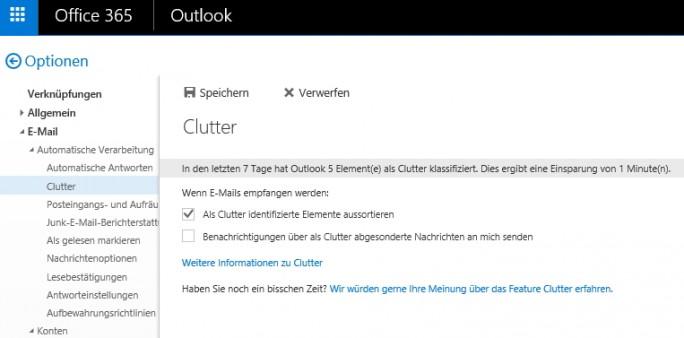 Clutter sorgt für Ordnung im E-Mail-Postfach (Screenshot: Thomas Joos).