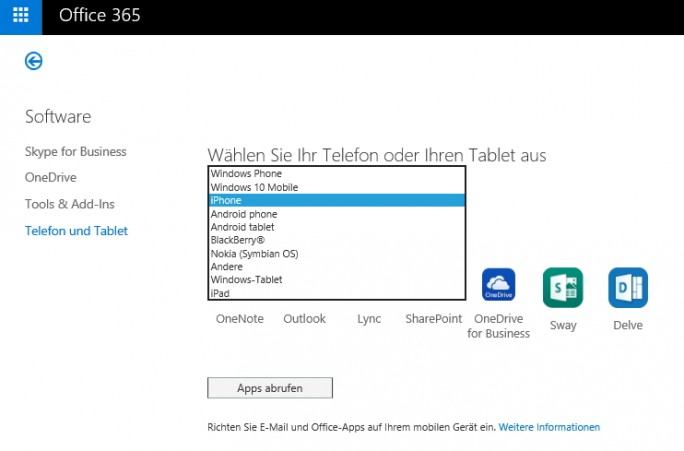 Im Office 365-Portal stellt Microsoft auch Software zum Download bereit, sowie Links zu den wichtigsten Apps (Screenshot: Thomas Joos).