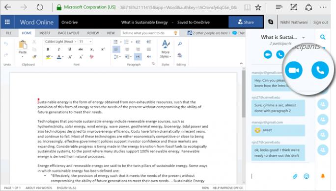 Das Chatfenster wird dann direkt neben dem Dokument angezeigt. Dort finden sich auch Schaltflächen, um eine Sprach- oder Videokonferenz zu starten (Screenshot: Microsoft).