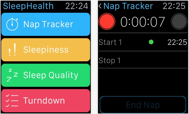 SleepHealth auf der Apple Watch (Screenshot: iTunes)