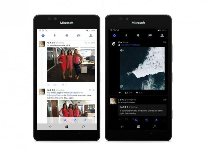 Nutzer der neuen Twitter-App für Windows 10 können zwischen einem hellen und einem dunklen Design wählen (Bild: Twitter/Microsoft).