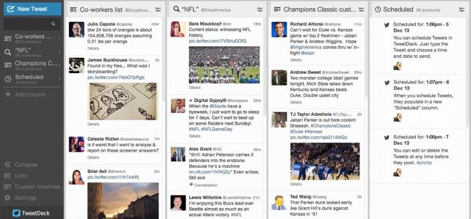 Mit TweetDeck können Twitter-Nutzer mehrere Konten, Themen und Tweets parallel anzeigen lassen (Bild: Twitter).