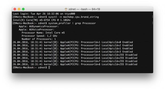 MacBook 2016: Intel Core m5 (Screenshot: ZDNet.de)