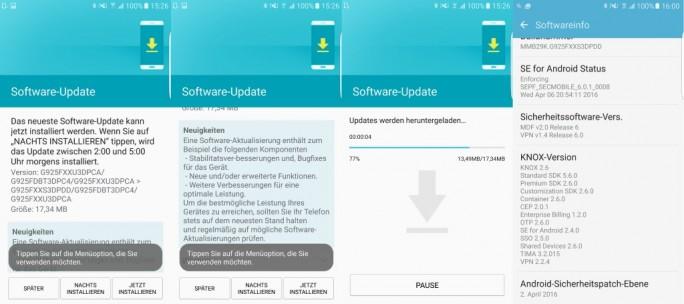 Samsung Galaxy S6 Edge: Das Update G925FXXS3DPDD für das S6 Edge umfasst die von Google Anfang April veröffentlichten Sicherheitspatches für Android 6.0.1 (Bild: ZDNet.de).