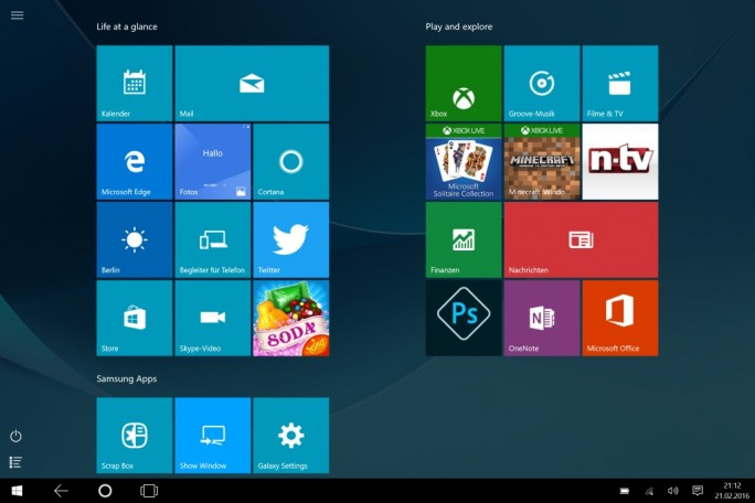 Samsung Galaxy TabPro S: Standard-Startbildschirm (Screenshot: ZDNet.de)