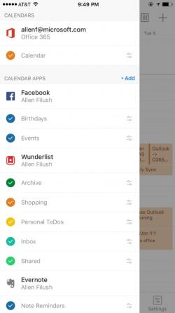 Der Outlook-Kalender für Android und iOS zeigt nun auch in Facebook, Evernote und Wunderlist erstellte Termine, Notizen oder Aufgaben an (Bild: Microsoft).