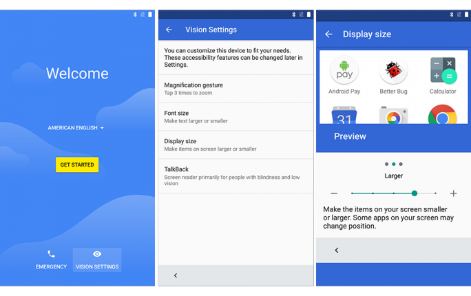 Unter Android N werden Nutzer mit Sehschwäche die Darstellung umfangreich anpassen können (Bild. Google).