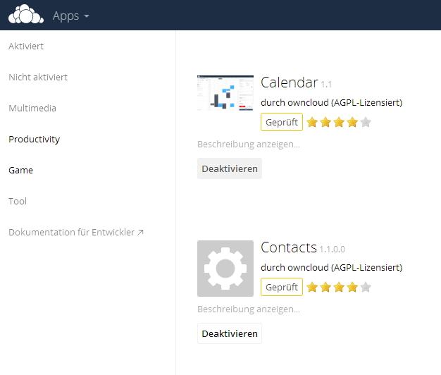 Kontakte und Kalender werden als zusätzliche App in ownCloud aktiviert (Screenshot: Thomas Joos).