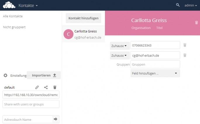 Kontakte lassen sich in ownCloud genauso verwalten, wie in anderen Groupware-Lösungen. Neben der Weboberfläche lassen sich Kontakte auch mit CardDAV synchronisieren (Screenshot: Thomas Joos).