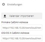 In den Einstellungen der Kalender-App sind die CalDAV-Adressen zu sehen. Hier ist auch die Schaltfläche zum Importieren von Kalendern in die ownCloud-Kalender-App zu erreichen (Screenshot: Thomas Joos).