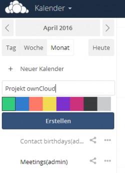 Jeder Benutzer kann neue Kalender erstellen und so Termine optimal koordinieren (Screenshot: Thomas Joos).