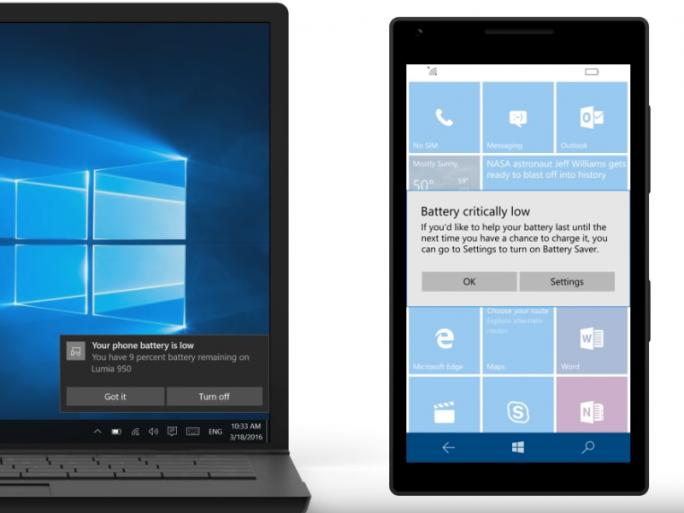 Cortana informiert nun auch auf dem Desktop über den Akkustand mobiler Geräte (Screenshot: ZDNet.de).