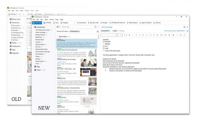 Die alte und neue Seitenleiste von Evernote für Windows im Vergleich (Bild: Evernote).