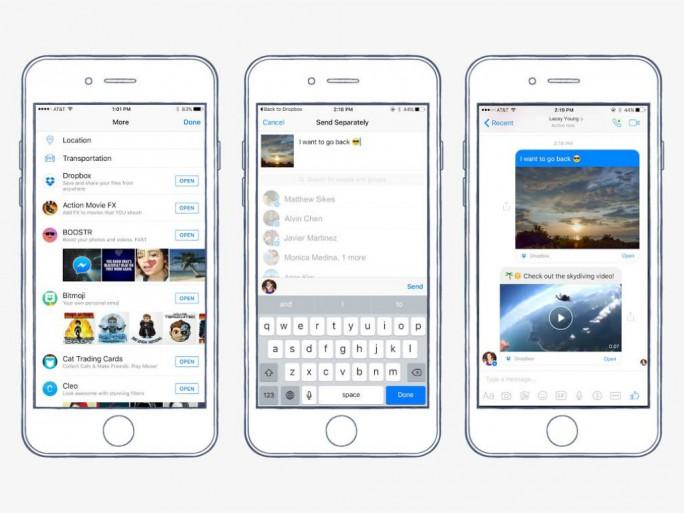 Neuerdings lassen sich bei Dropbox gespeicherte Bilder, Videos und Dokumente direkt in Messenger-Konversationen einfügen (Bild: Facebook).