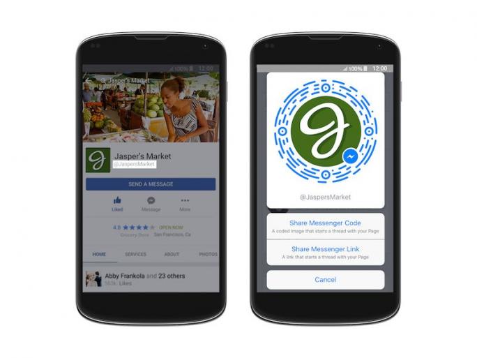 Eindeutige Nutzernamen (links), Kurzlinks und Scancodes sollen Facebook-Seiten einfacher auffindbar machen und die Kontaktaufnahme erleichtern (Bild: Facebook).