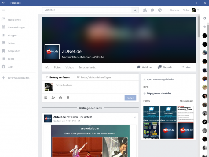 Facebook für Windows 10 (Screenshot: ZDNet.de)