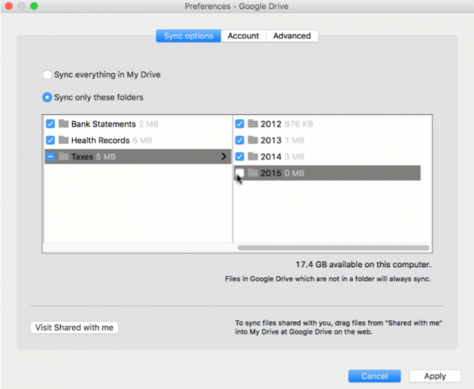 Neuerdings können Google-Drive-Nutzer bestimmte Ordner für die Sychronisierung auswählen (Bild: Google).