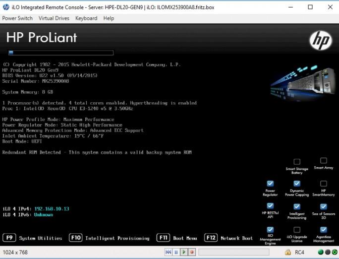 Über HPE Integrated Lights-Out (iLO) können Administratoren Server auch ohne ein gestartetes Betriebssystem fernwarten (Screenshot: Thomas Joos).
