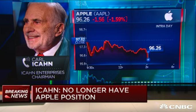 Carl Icahn hat nach den jüngsten Kursverlusten alle Apple-Anteile verkauft (Screenshot: ZDNet.de).