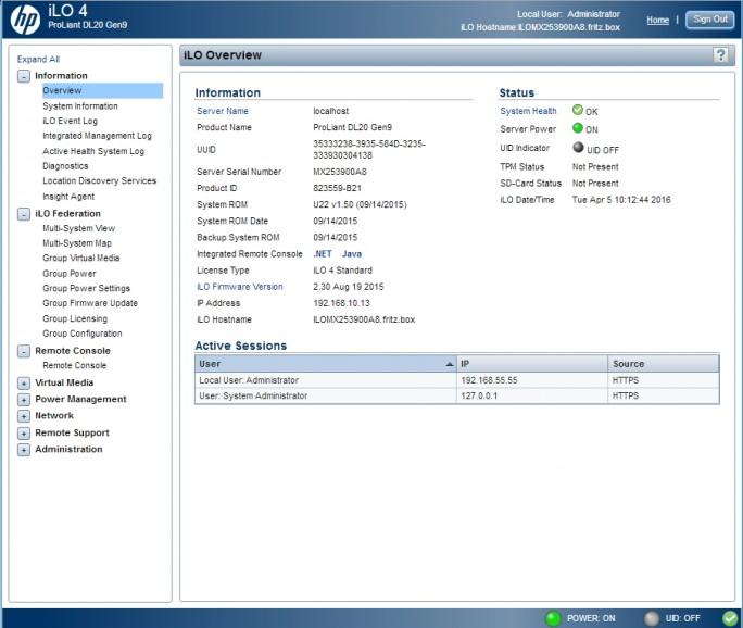 Die Verwaltung von HPE ProLiant Gen9-Server erfolgt auf Wunsch über iLO4 (Screenshot: Thomas Joos).
