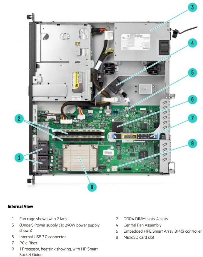 HPE ProLiant DL20 Generation 9 bieten einen internen MicroSD-Anschluss und einen fest verbauten HPE Smart Array B140i Controller (Screenshot: Thomas Joos).