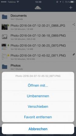 Auch in der iPhone-App lassen sich Dateien in ownCloud verwalten (Screenshot: Thomas Joos).