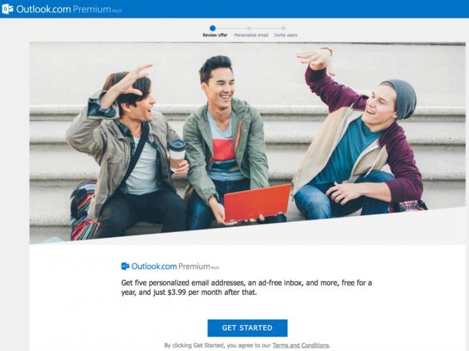 Kunden von Outlook Premium erhalten für monatlich 3,99 Dollar fünf personalisierte E-Mail-Adressen und einen werbefreien Posteingang (Screenshot: Ian Sherr/CNET).