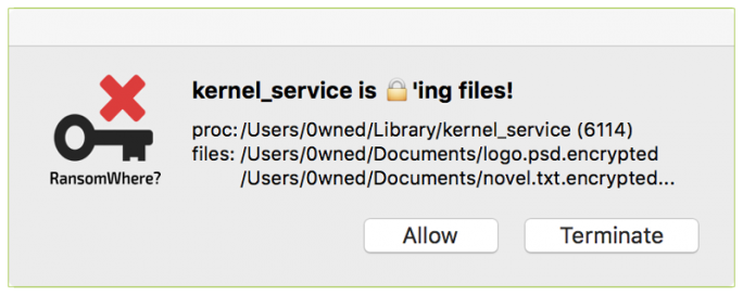 Erkennt RansomWhere? die schnelle Verschlüsselung von Dateien wie hier mit KeRanger, stoppt es den Prozess und warnt den Anwender (Bild: Patrick Wardle).