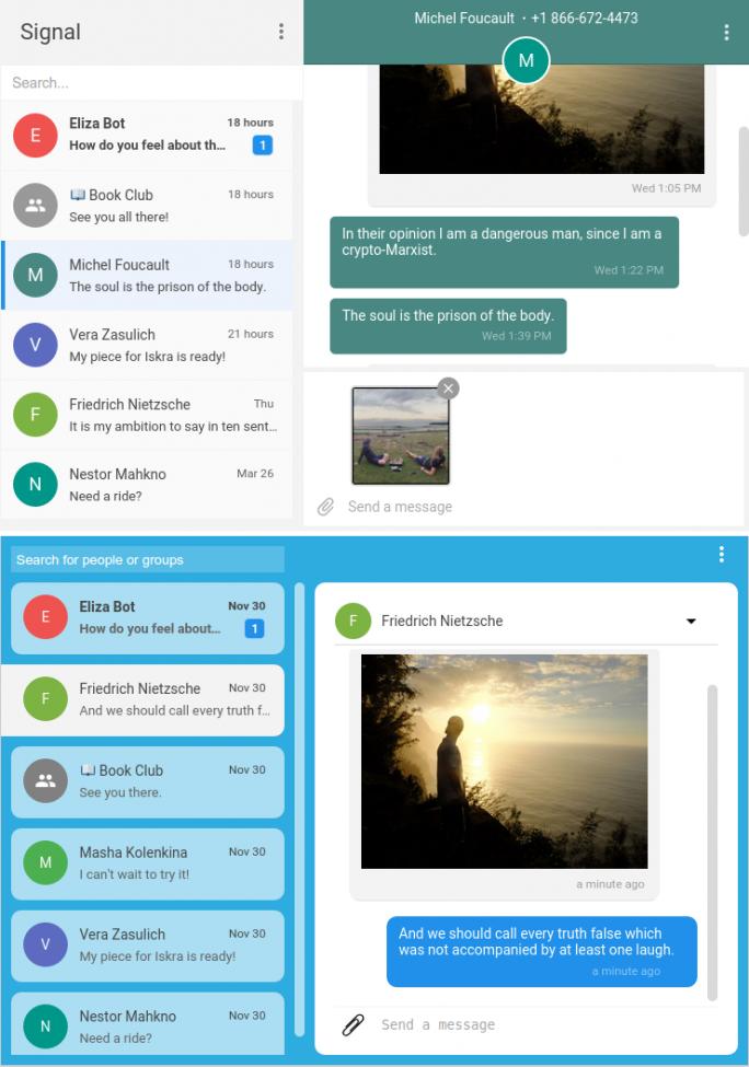 Neu (oben) und alt: Die Signal-Entwickler haben die Oberfläche ihrer Desktop-App seit dem Start der Beta im Dezember überarbeitet (Bild: Open Whisper Systems).