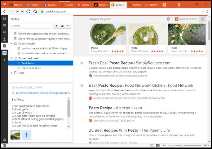 Mit Vivaldi können Nutzer während des Surfens Notizen und Screenshots erstellen sowie organisieren (Bild: Vivaldi).