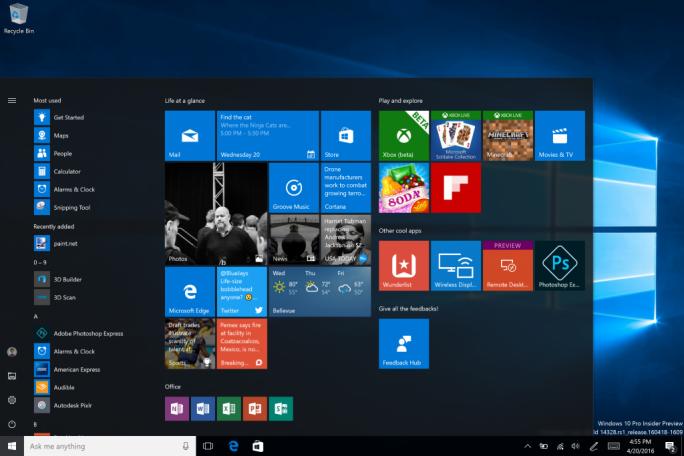 Windows 10 Build 14328 bringt Neuerungen für das Startmenü (Bild: Microsoft).
