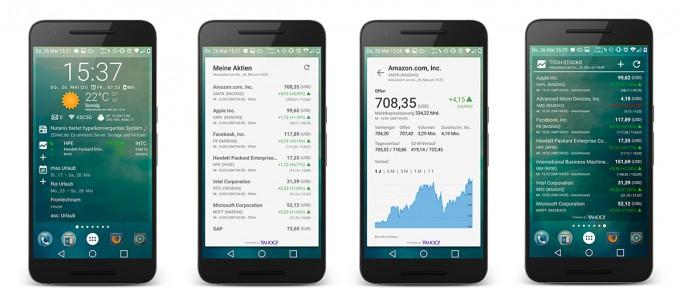 Das Aktien-Widget gibt es erst seit wenigen Wochen. Es ermöglicht die Anzeige von Kursen im Flex-Widget (links) oder im Aktien-Widget (rechts). Beim Klick auf das Aktiensymbol erscheinen weitere Details (Bild: ZDNet.de).