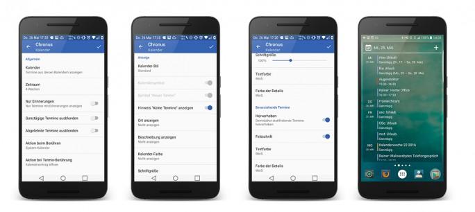 Auch für die Konfiguration des Kalender-Widgets stehen zahlreiche Optionen zur Verfügung (Bild: ZDNet.de)