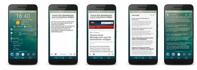 Chronus bietet auch die Möglichkeit, schnell auf Nachrichten zuzugreifen. Als Quellen dienen RSS-Feeds, Feedly, Twitter und Reddit (Bild: ZDNet.de).
