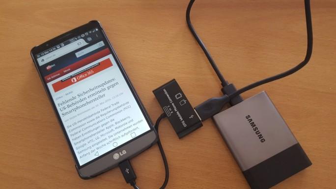 Samsung Portable SSD T3: Anschluss an Android-Smartphone (Bild: ZDNet.de)