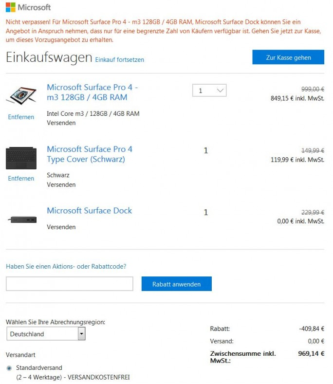 Surface Pro 4: Rabatt für Insider (Screenshot: ZDNet.de)
