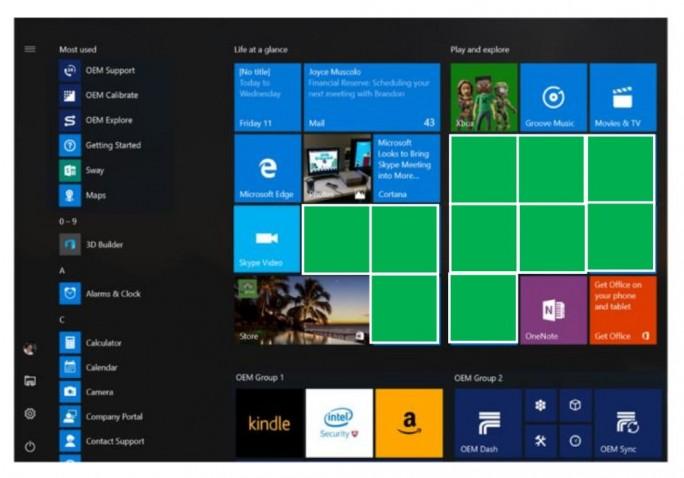 Die geplante neue Verteilung von Kacheln im Startmenü von Windows 10. Die für Werbung vorgesehenen Plätze sind grün markiert (Scrreenshot: silicon.de).