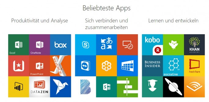 Beliebteste Apps im neuen Windows Store für Unternehmen (Bild: Microsoft)