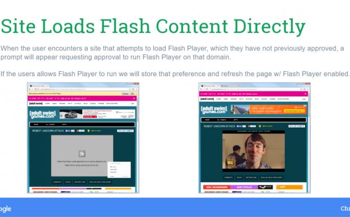 Eine Infoleiste fordert Chrome-Nutzer künftig auf, das Flash-Plug-in zu aktivieren (Bild: Google).